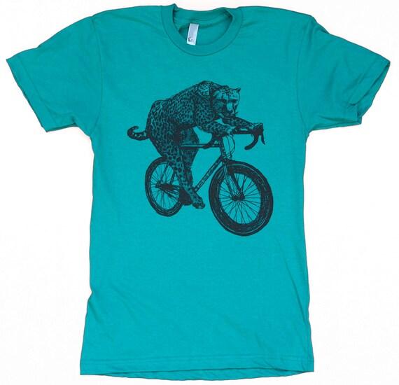 Mens BICYCLE Tshirt CHEETAH on a Fixie BIKE Unisex Blue American Apparel Shirt 50/50