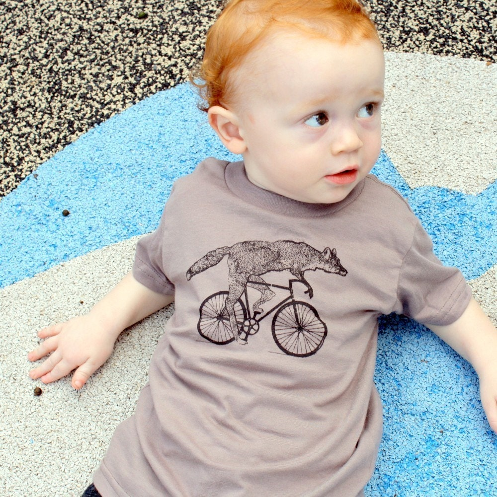 fox on a bike shirt childrens tshirt by darkcycleclothing