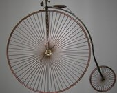 Reserved for KFED ---  High Wheeled Bike Sculpture wall hanging or free standing Penny Farthing  metal sculpture-