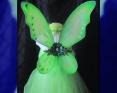 Adult Tinkerbell Costume custom orders for all sizes welcome complete with Glow in the Dark Wings