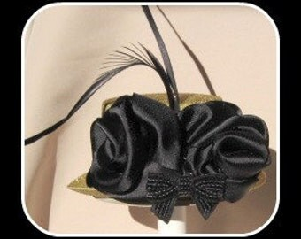 Gold and Black  Mini Top Hat  with crystal    ready to ship