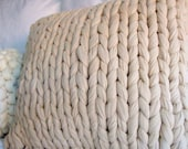 Super Chunky Knit Throw Pillow - Putty