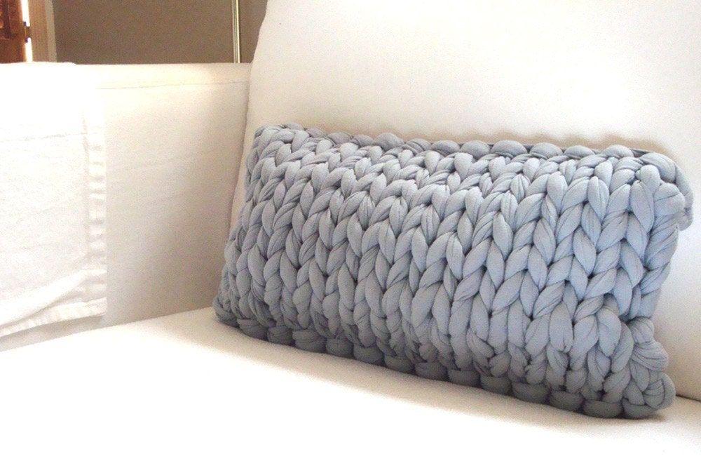 Chunky Knit Pillow Pattern : Super Chunky Knit Lumbar Pillow Steely blue gray