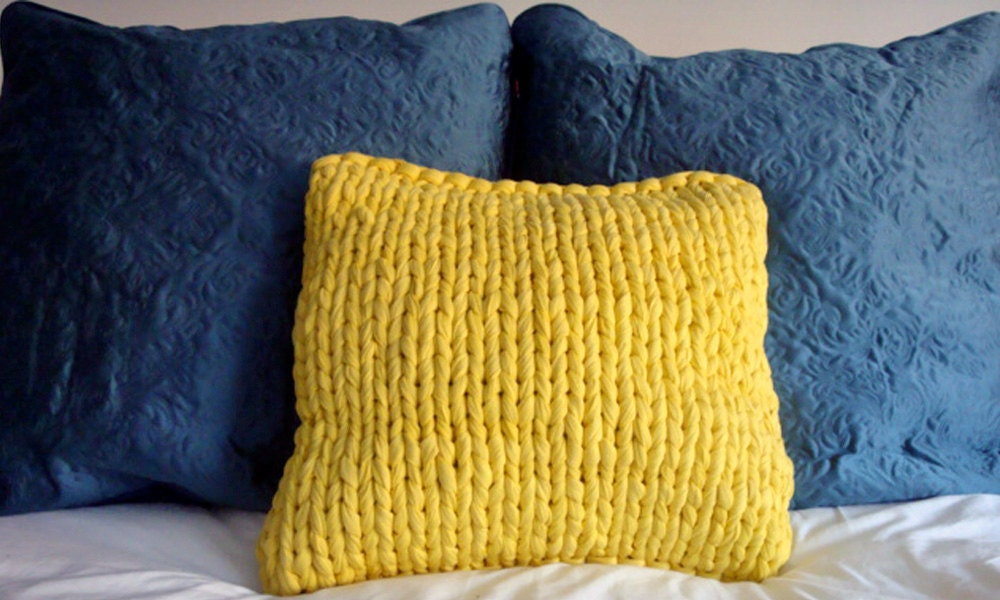 Chunky Knit Pillow Pattern : Super Chunky Knit 18 Pillow Lemon Yellow by danasjoy on Etsy