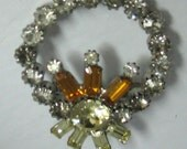 Colorful Rhinestones Brooch  set in  Topaz and Lime Cut Crystals a Beauty Wreath Candle Christmas Pin