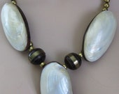 Statement VINTAGE Necklace Set Abalone Shell and hand polish Wood  Brass Beads On SaLe NoW