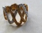 Wide Wavy Band Ring 2 Colors 18K Gold HGE Over Sterling Vintage 1970's Ring Size 5