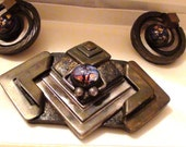 Vintage Modernist Brooch and Earrings with Glass Murano Art Stone Geometric design Signed