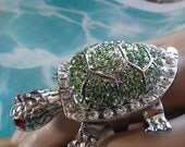 SOLD to B  1990s Turtle Ring Rhinestones Articulated Swarovsky Crystals Rhodium, Plated Huge Ring 3 X 2 Fantastic