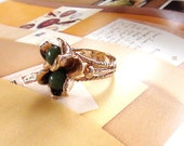 """REtro Cluster Ring """"Romance Jade Bouquet"""" Large Cluster 1"""" X 6/8"""" size 6 Repousse Petals and Jade In 18kt Yellow Gold HGE from 1960s"""