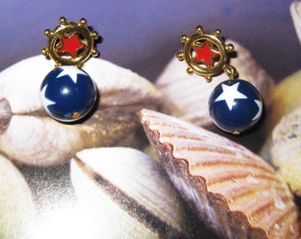 Vintage 18k gold plated Patriotic Red, White, Blue Star Earrings Pierced Post Dangle  On SaLe Now