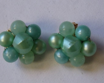 Art Deco HONG KONG GREEN Cluster Clip Earrings 1950's Green Beaded 14k gold plated backings  On SaLe Now