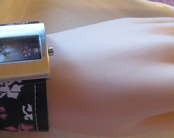 Retired  LADIES Wide Rectangle Face  WRIST WATCH  Black and Pink Flowers Retro Look from 1990s