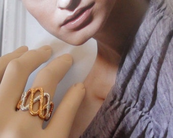 REtro The Wave Wide Ring  Silver and Gold with 18K Gold HGE Over Sterling  Ring Size 7