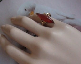 """Victorian Carnelian Marquise Ring  Long 1 1/8"""" X 10mm Domed 24k Gold Heavy Plated Signed Avon Vintage Open size from 5 to 6 On SaLe Now"""