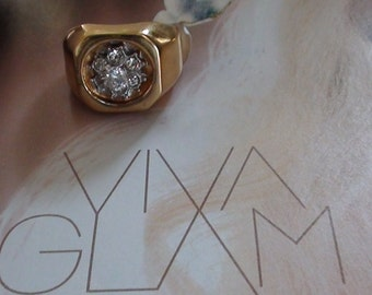 Glam Cluster REpousse Ring Cz Diamond Brilliant and 18Kt HGE  Vintage  Size 8  Excellent Unused Orig TAG