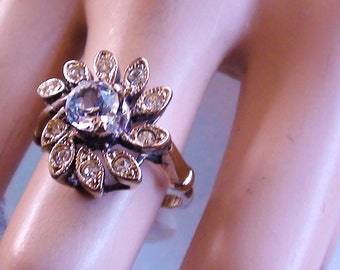 Cluster Cocktail Cluster Ring Zirconia SIGNED 14K Gold Plated Yellow  Karatclad Uncas size 8 Unused