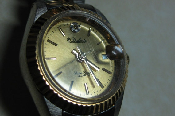 Vintage 1980's  DuFonte by Lucien Piccard Lady Wrist Watch Diamond chip Working New Battery  On Sale Now