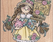 Tea Party Girl Rumber Stamp with Flowers and Teapot