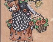 Garden Girl Rumber Stamp with Flowers and Watering can