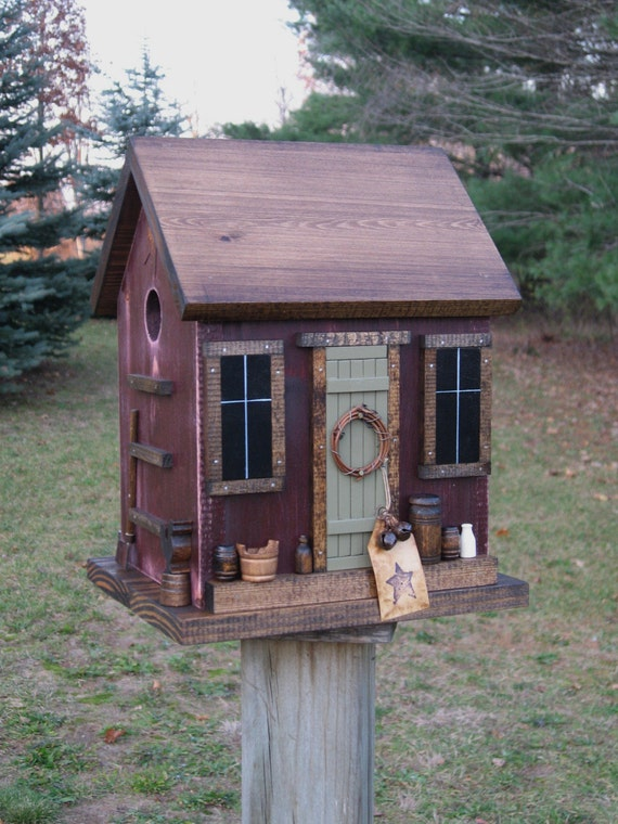 Folk Art Primitive Saltbox House Antique Red Birdhouse Nest