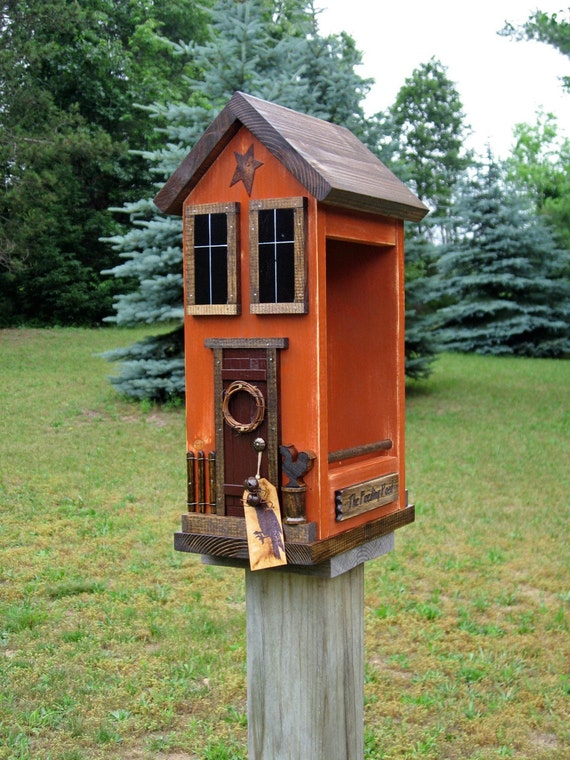 Rustic Primitive Red Bird House House Design And