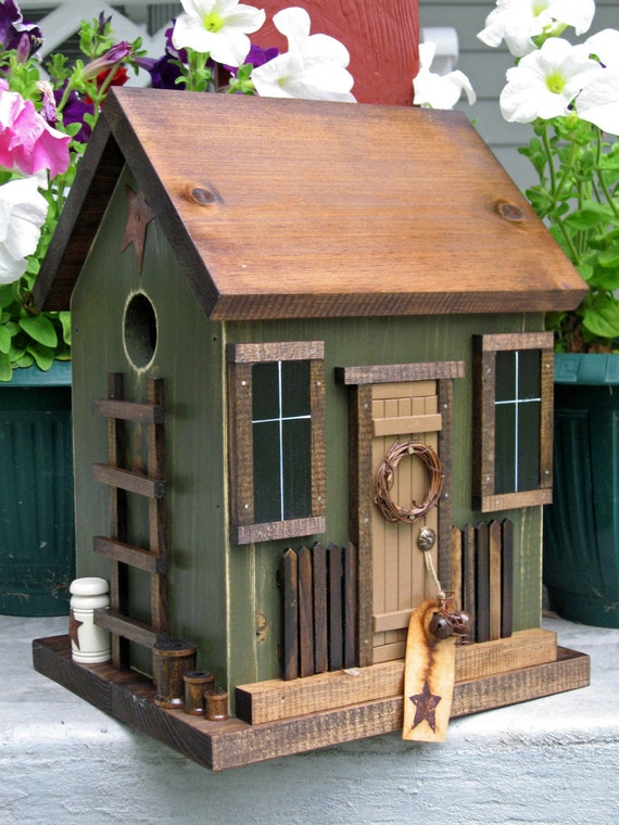 Folk Art Primitive Saltbox House Birds By Harmonscountrycrafts
