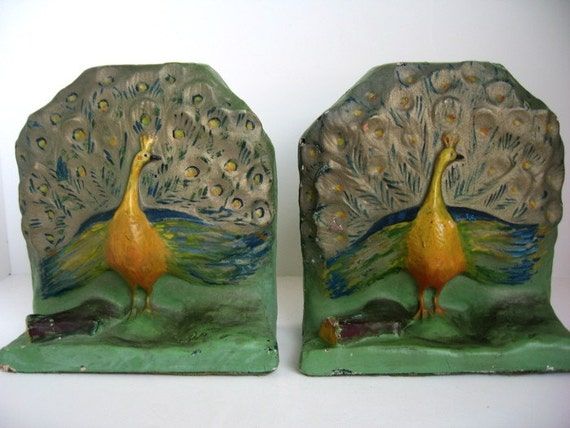Vintage Handpainted Peacock Bookends