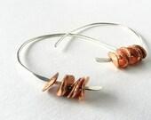 Hoop Earrings Sterling Silver Copper Hammered Jewelry
