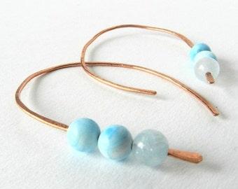 Copper Hoop Earrings Sky Blue Color Gem Beads