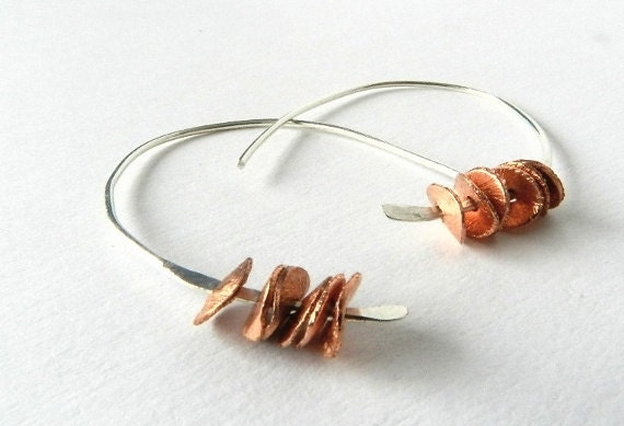 Hoop Earrings Sterling Silver Copper Hammered Jewelry