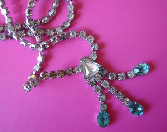 Vintage art nouveau clear and blue rhinestone necklace (K4)