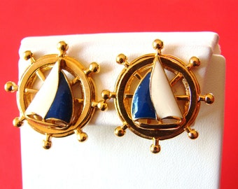 Vintage gold ship steering wheel/ helm & blue and white sailboat earrings (D31)