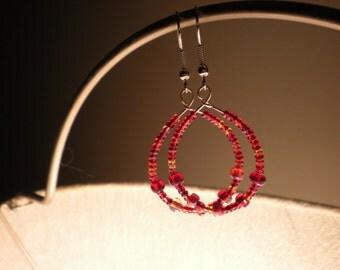 SALE- Autumn Crimson Glow dangling earrings