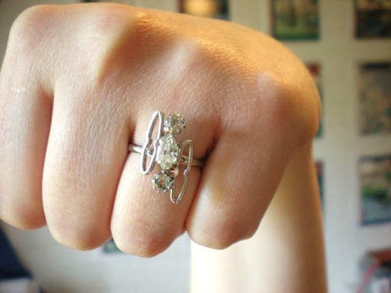 Silver ring with crystal accents- filly adjustable