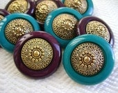 12 Vintage Buttons - Elegant Burgandy and Gold - Last in Stock