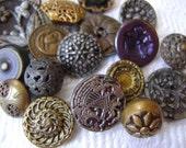 Antique Buttons - Victorian to 1940s Metal Button Grab Bag Assortment
