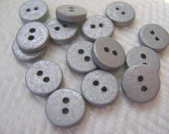 SALE 1940s Vintage Wooden Buttons - 12 Silver Sparkles