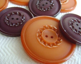 French Vintage Buttons - Mid Century Plastic in Burgundy Wine