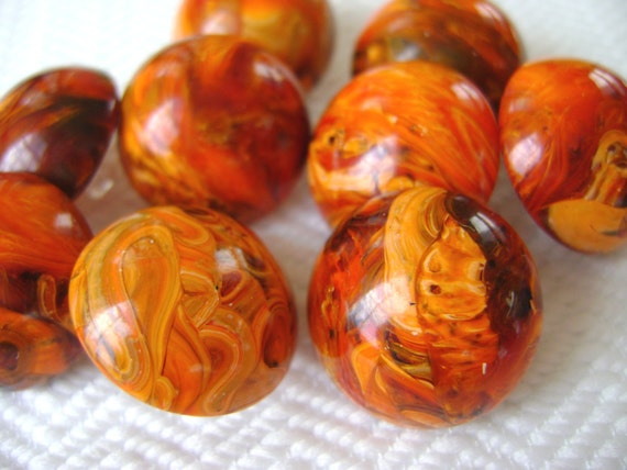Swirled Tiger Buttons Handmade from Vintage Cabochons