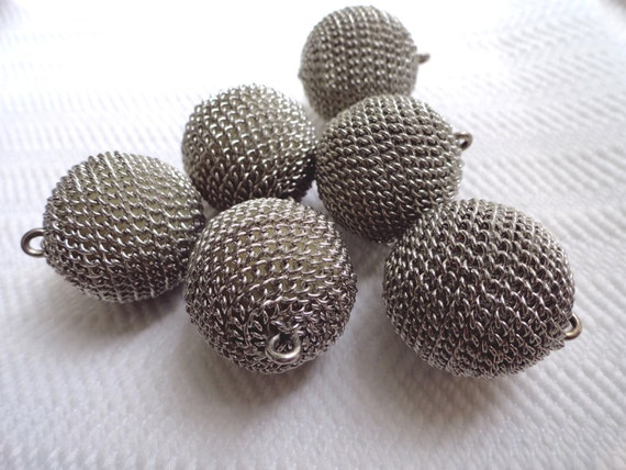 Chain Mail Vintage Buttons - 12 Mid Century Metal Ball Buttons - LAST in Stock