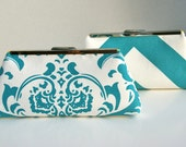 Bridesmaids Gift Clutch Handbag In Blue Teal Turquoise -Design your Own Gift for Bridesmaids or Bridal Party