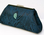 Teal Peacock Bridal Clutch Handbag Custom Made for Wedding Party, Bridesmaids or Gift Dark Teal or various colors