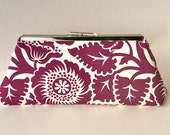 Plum Bridesmaids Gift Handbag Gift Clutch in Dark Purple Floral Custom Made Design your Own for Bridesmaids Bridal Party