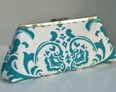 Turquoise Handbag Clutch in Turquoise Damask Custom Made or Design your own