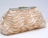 Champagne Handbag Clutch with ruffled satin ribbon for Bride or Bridesmaids- Formal- Design your own