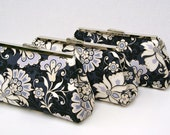 Bridesmaids Gift Bag Clutch in Ivory and Black Custom Handbag- Choose your own fabric and colors