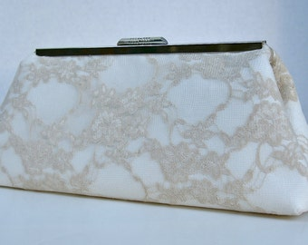 Champagne Handbag in Lace for Bride or Bridemaids Handbag Clutch bridal accessory with Silk Lining- custom design your own