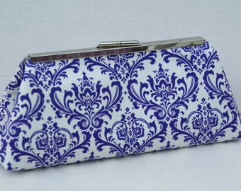 Purple Damask Handbag Clutch for Bridesmaids or Gift Custom Made To Order