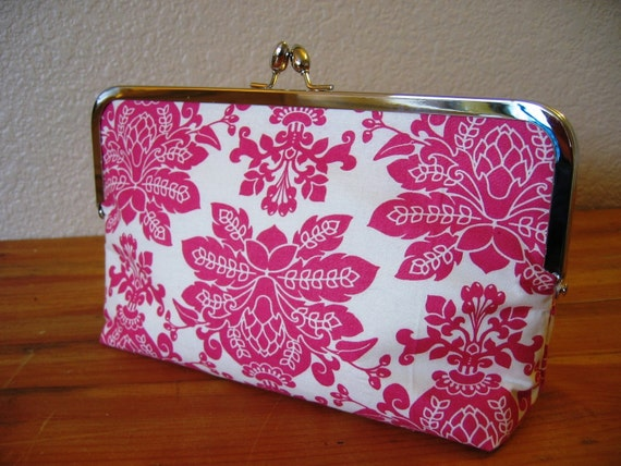 ON Sale Clutch in Hot Pink Damask with Silver Clasp Frame